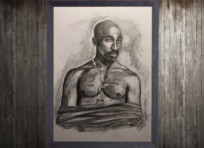 Jogchumskunst - Jogchum Veenstra Kunst - Potlood tekening tupac