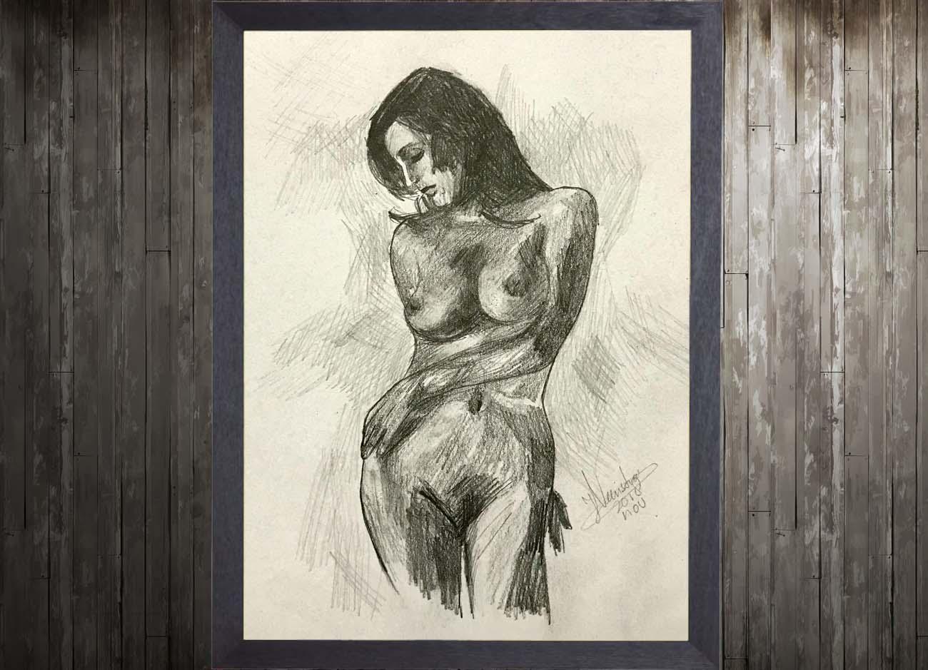 Jogchumskunst - Jogchum Veenstra Kunst - Potlood tekening vrouw