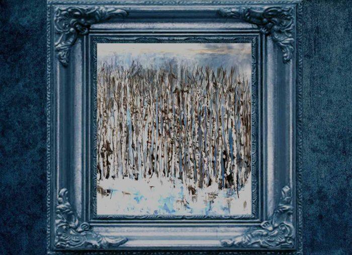 Jogchumskunst - Jogchum Veenstra kunstwerken - Realisme - Berkenbos in de winter-Birch at winter
